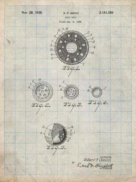 PP168- Antique Grid Parchment Golf Ball Uniformity Patent Poster by Cole Borders