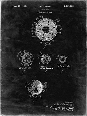 PP168- Black Grunge Golf Ball Uniformity Patent Poster by Cole Borders