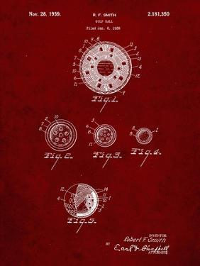 PP168- Burgundy Golf Ball Uniformity Patent Poster by Cole Borders