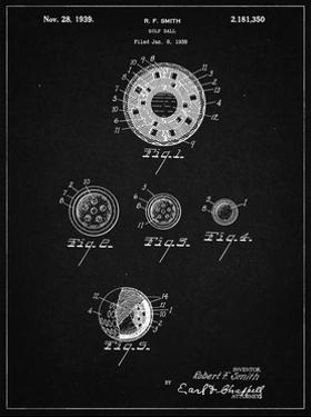 PP168- Vintage Black Golf Ball Uniformity Patent Poster by Cole Borders