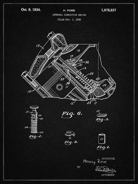 PP172- Vintage Black Ford V-8 Combustion Engine 1934 Patent Poster by Cole Borders