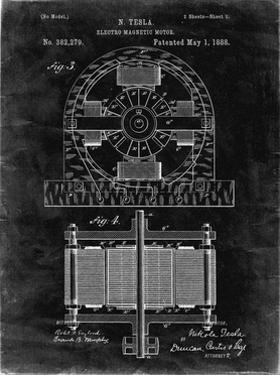 PP173- Black Grunge Tesla Electro Motor Patent Poster by Cole Borders
