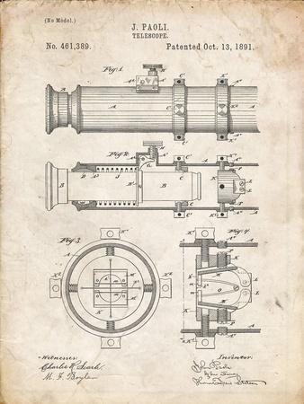 PP180- Vintage Parchment Antique Telescope 1891 Patent Poster