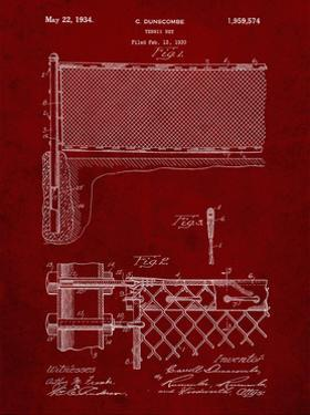 PP181- Burgundy Tennis Net Patent Poster by Cole Borders