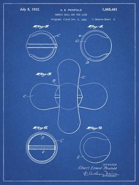 PP182- Blueprint Tennis Ball 1932 Patent Poster by Cole Borders