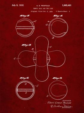 PP182- Burgundy Tennis Ball 1932 Patent Poster by Cole Borders