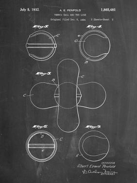 PP182- Chalkboard Tennis Ball 1932 Patent Poster by Cole Borders