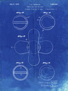 PP182- Faded Blueprint Tennis Ball 1932 Patent Poster by Cole Borders