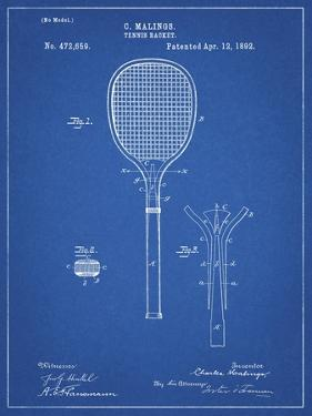 PP183- Blueprint Tennis Racket 1892 Patent Poster by Cole Borders