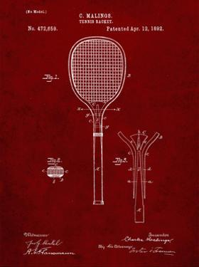 PP183- Burgundy Tennis Racket 1892 Patent Poster by Cole Borders