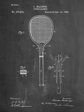 PP183- Chalkboard Tennis Racket 1892 Patent Poster by Cole Borders