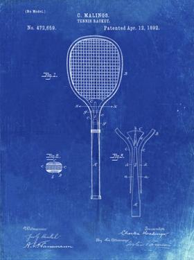 PP183- Faded Blueprint Tennis Racket 1892 Patent Poster by Cole Borders