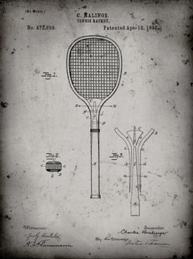 PP183- Faded Grey Tennis Racket 1892 Patent Poster by Cole Borders