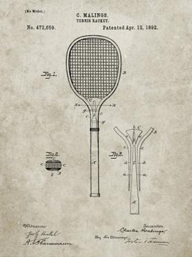 PP183- Sandstone Tennis Racket 1892 Patent Poster by Cole Borders