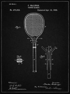 PP183- Vintage Black Tennis Racket 1892 Patent Poster by Cole Borders