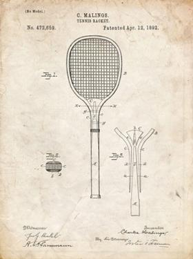 PP183- Vintage Parchment Tennis Racket 1892 Patent Poster by Cole Borders