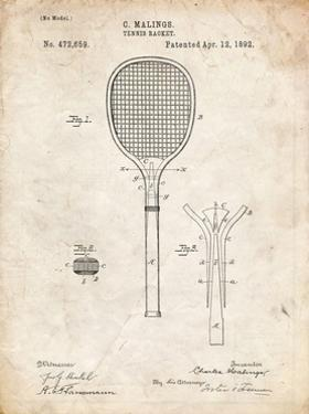 PP183- Vintage Parchment Tennis Racket 1892 Patent Poster by Cole Borders