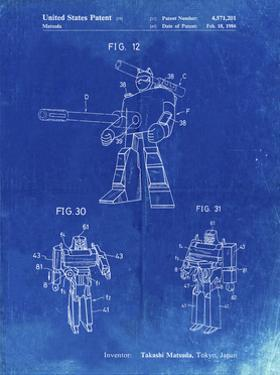 PP184- Faded Blueprint Megatron Transformer Patent Poster by Cole Borders