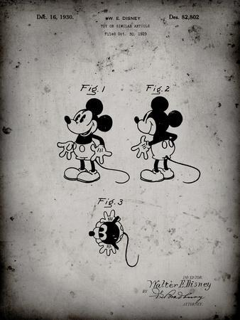 PP191- Faded Grey Mickey Mouse 1929 Patent Poster