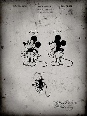 PP191- Faded Grey Mickey Mouse 1929 Patent Poster by Cole Borders