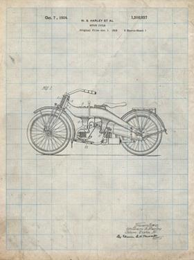 PP194- Antique Grid Parchment Harley Davidson Motorcycle 1919 Patent Poster by Cole Borders