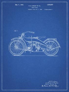 PP194- Blueprint Harley Davidson Motorcycle 1919 Patent Poster by Cole Borders