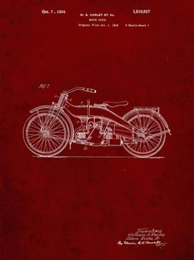 PP194- Burgundy Harley Davidson Motorcycle 1919 Patent Poster by Cole Borders