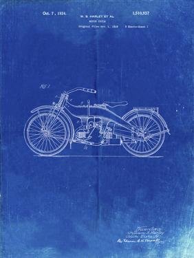 PP194- Faded Blueprint Harley Davidson Motorcycle 1919 Patent Poster by Cole Borders
