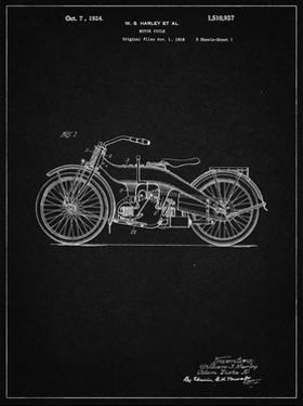 PP194- Vintage Black Harley Davidson Motorcycle 1919 Patent Poster by Cole Borders