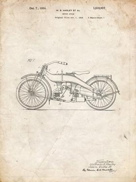 PP194- Vintage Parchment Harley Davidson Motorcycle 1919 Patent Poster by Cole Borders