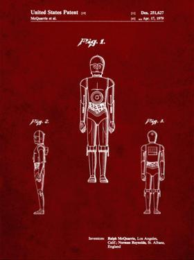 PP195- Burgundy Star Wars C-3PO Patent Poster by Cole Borders