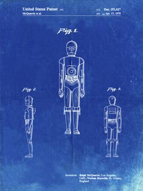 PP195- Faded Blueprint Star Wars C-3PO Patent Poster by Cole Borders