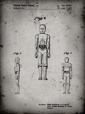 PP195- Faded Grey Star Wars C-3PO Patent Poster by Cole Borders