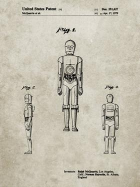 PP195- Sandstone Star Wars C-3PO Patent Poster by Cole Borders
