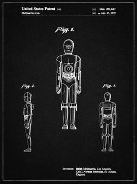 PP195- Vintage Black Star Wars C-3PO Patent Poster by Cole Borders
