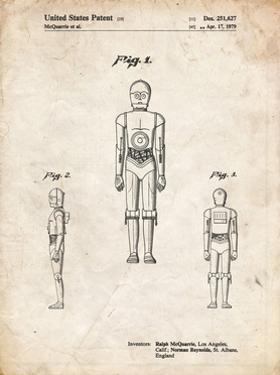 PP195- Vintage Parchment Star Wars C-3PO Patent Poster by Cole Borders