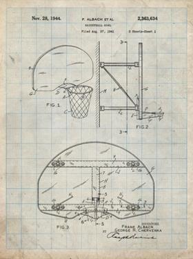 PP196-Antique Grid Parchment Albach Basketball Goal Patent Poster by Cole Borders
