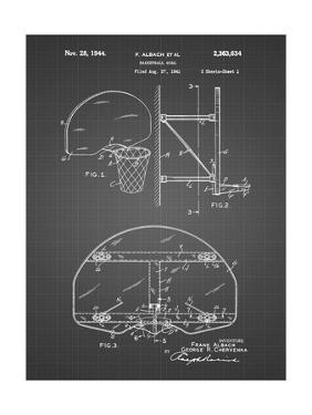 PP196-Black Grid Albach Basketball Goal Patent Poster by Cole Borders