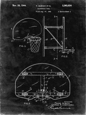 PP196- Black Grunge Albach Basketball Goal Patent Poster by Cole Borders