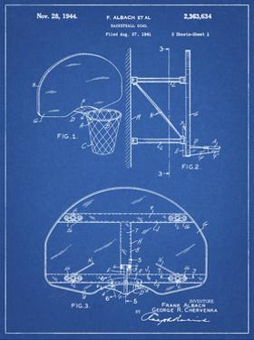 PP196- Blueprint Albach Basketball Goal Patent Poster by Cole Borders