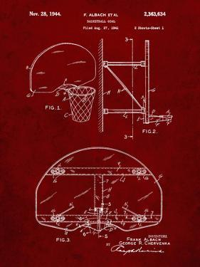 PP196- Burgundy Albach Basketball Goal Patent Poster by Cole Borders