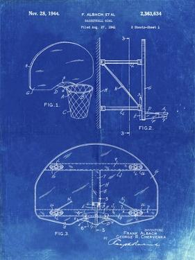 PP196- Faded Blueprint Albach Basketball Goal Patent Poster by Cole Borders