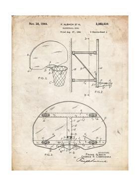 PP196- Vintage Parchment Albach Basketball Goal Patent Poster by Cole Borders