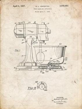 PP197- Vintage Parchment KitchenAid Kitchen Mixer Patent Poster by Cole Borders
