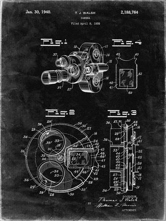 PP198- Black Grunge Bell and Howell Color Filter Camera Patent Poster