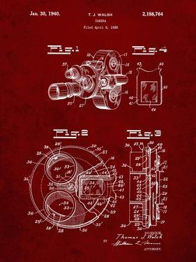 PP198- Burgundy Bell and Howell Color Filter Camera Patent Poster by Cole Borders