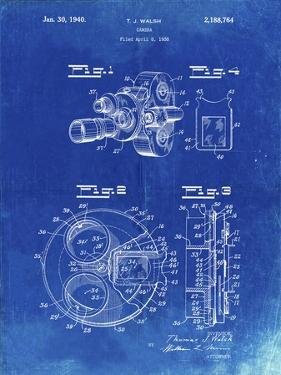 PP198- Faded Blueprint Bell and Howell Color Filter Camera Patent Poster by Cole Borders