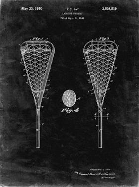PP199- Black Grunge Lacrosse Stick 1948 Patent Poster by Cole Borders