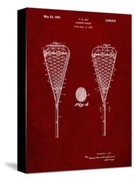 PP199- Burgundy Lacrosse Stick 1948 Patent Poster by Cole Borders
