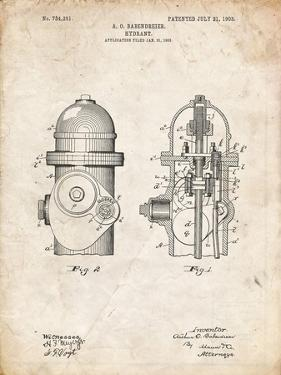 PP210-Vintage Parchment Fire Hydrant 1903 Patent Poster by Cole Borders